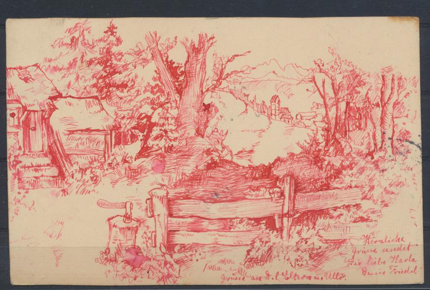 Kunst Künstler tolle handgemalte Ansichtskarte Bayern 1900 nach Oberstein 0