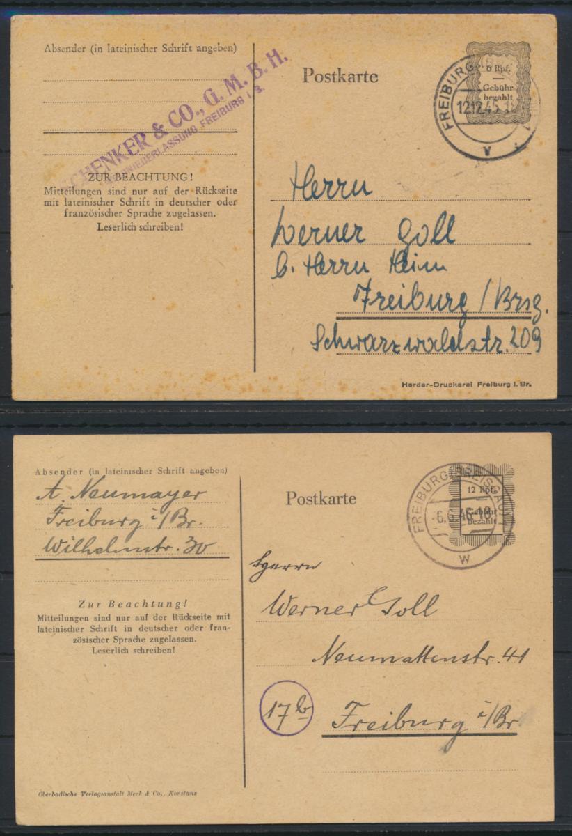 Franz. Zone Behelfsganzsachen 2 Stück 6 + 12 RPF Freiburg 1945 + 1946 0