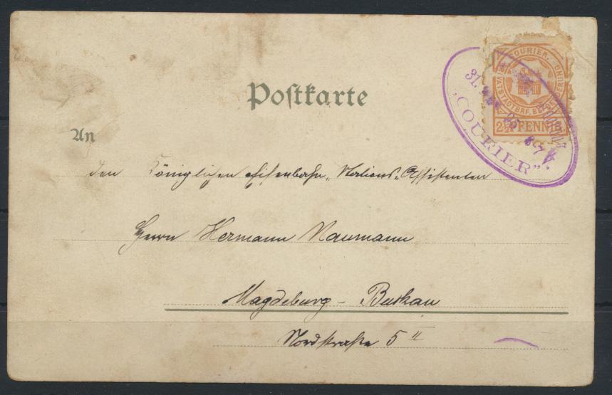 Stadtpost Privatpost Litho Neujahr Courier Magdeburg Burkau 1895 1