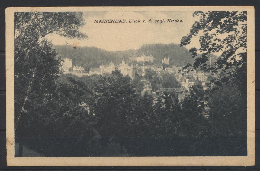 Ansichtskarte Marienbad Westböhmen Tschechien englische Kirche 1932 nach Riga 0