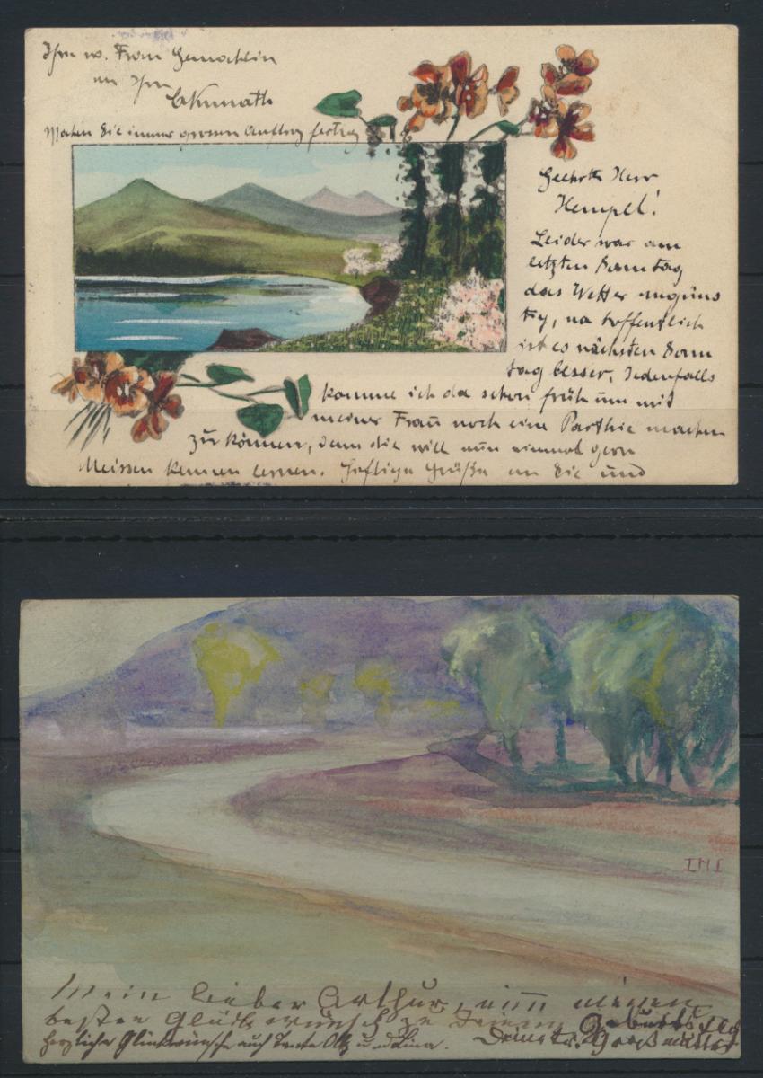 Lot von 4 handgemalten Original alten Ansichtskarten meist um 1905 0