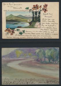 Lot von 4 handgemalten Original alten Ansichtskarten meist um 1905