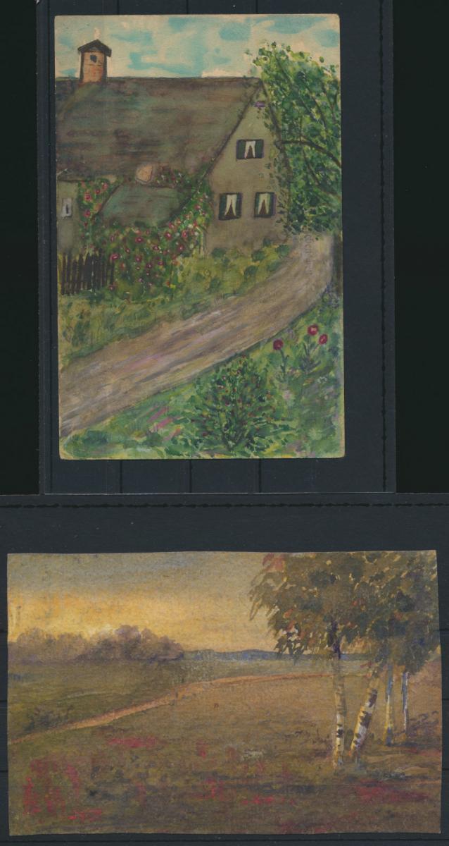 Lot von 4 handgemalten Original alten Ansichtskarten meist um 1905 1