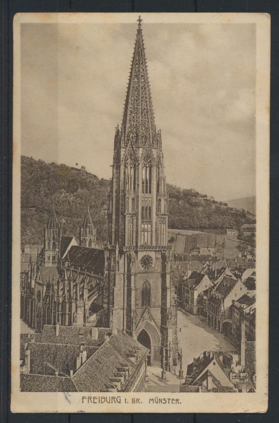 Ansichtskarte Freiburg Münster 1913 nach Münster 0