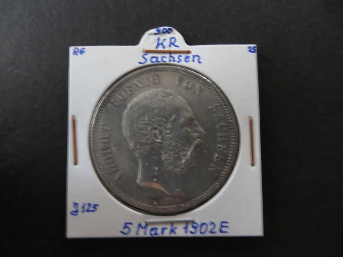 Münze Deutsches Reich Silber Sachsen 1902 5 Mark König Albert ss J 125 0