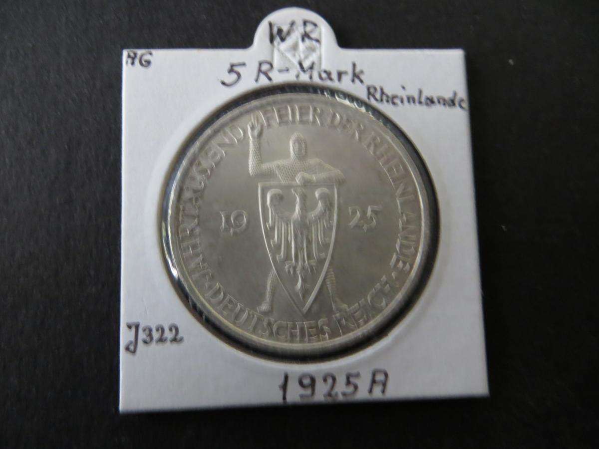 Münze Deutsches Reich Weimar 1925 5 RM Rheinlande Buchstabe A vz+ J 322 0