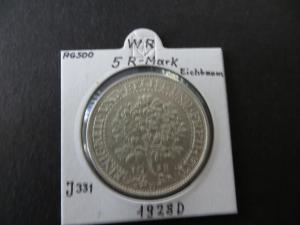 Münze Deutsches Reich Weimar 1928 5 RM Eichbaum Buchstabe D vz+ J 331