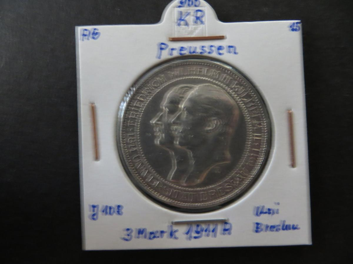 Münze Deutsches Reich Silber Preussen 1911 3 Mark Universität Breslau vz J 108 0