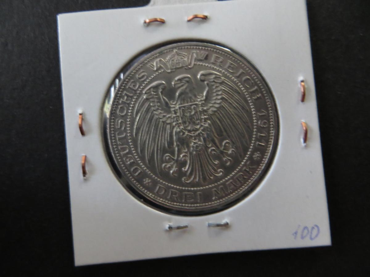 Münze Deutsches Reich Silber Preussen 1911 3 Mark Universität Breslau vz J 108 1