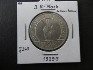 Münze Deutsches Reich Weimar 1929 3 RM G Jahrestag der Weimarer Verfassung