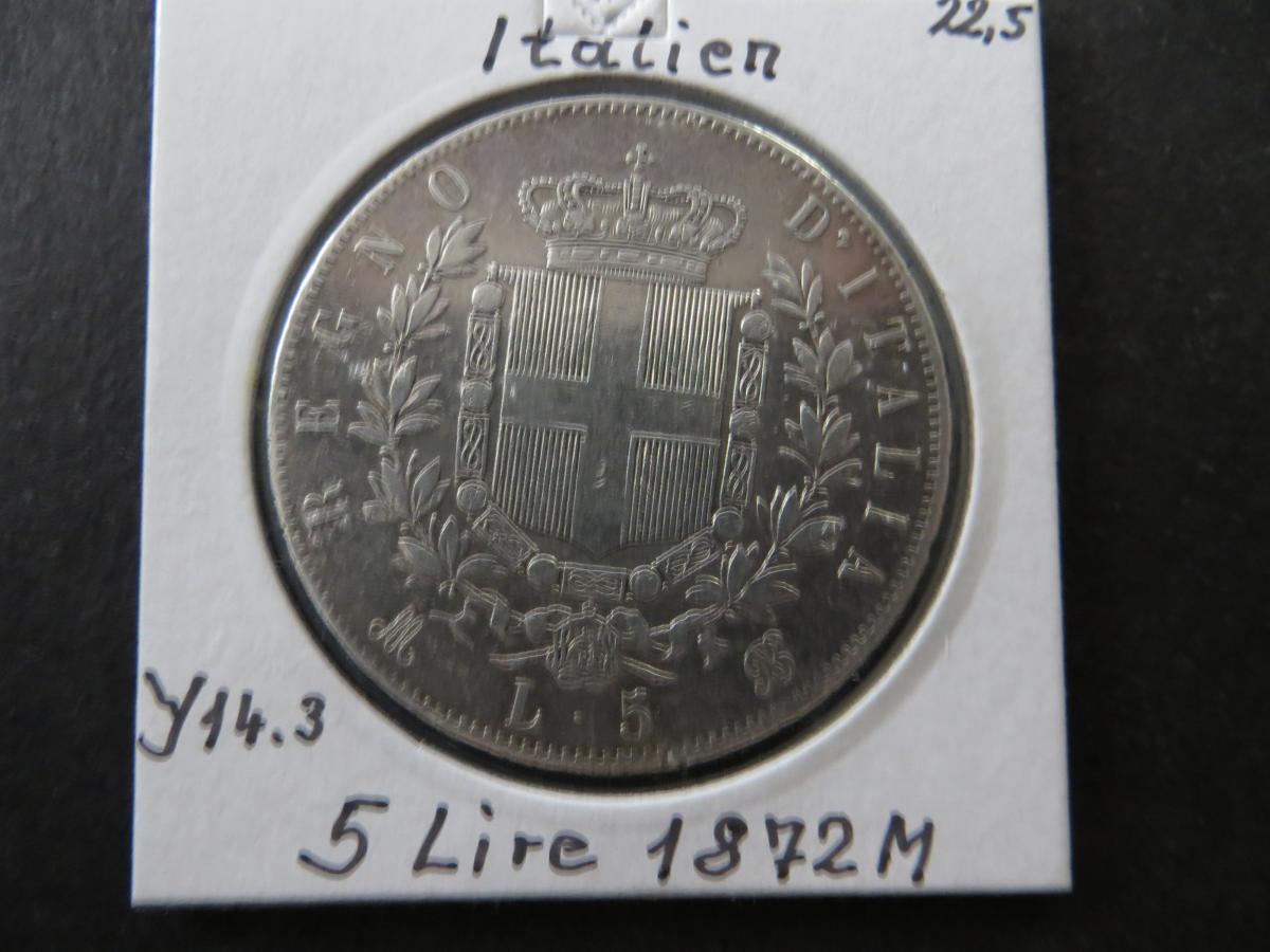 Münze Europa Italien 1872 5 Lire Vittorio Emanuele vz kleine Randkerbe  0