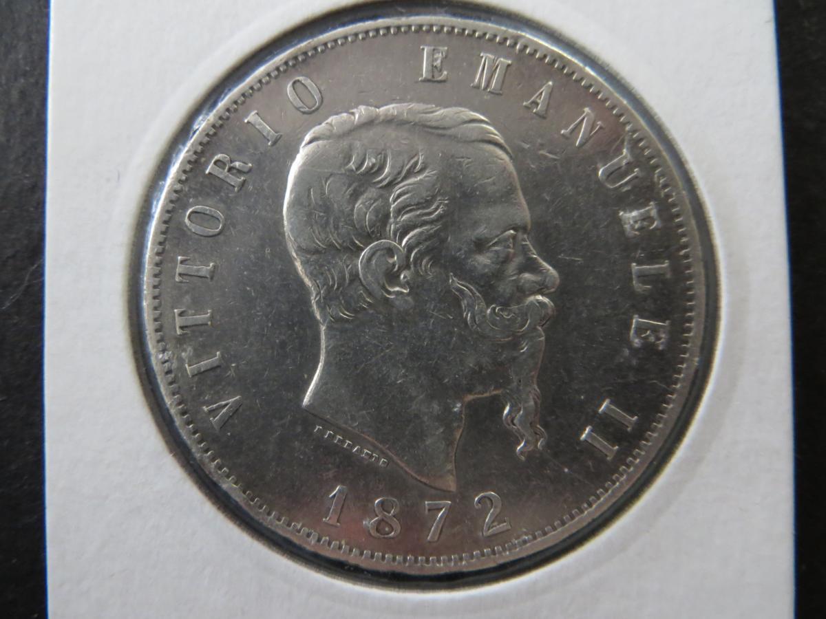 Münze Europa Italien 1872 5 Lire Vittorio Emanuele vz kleine Randkerbe  1