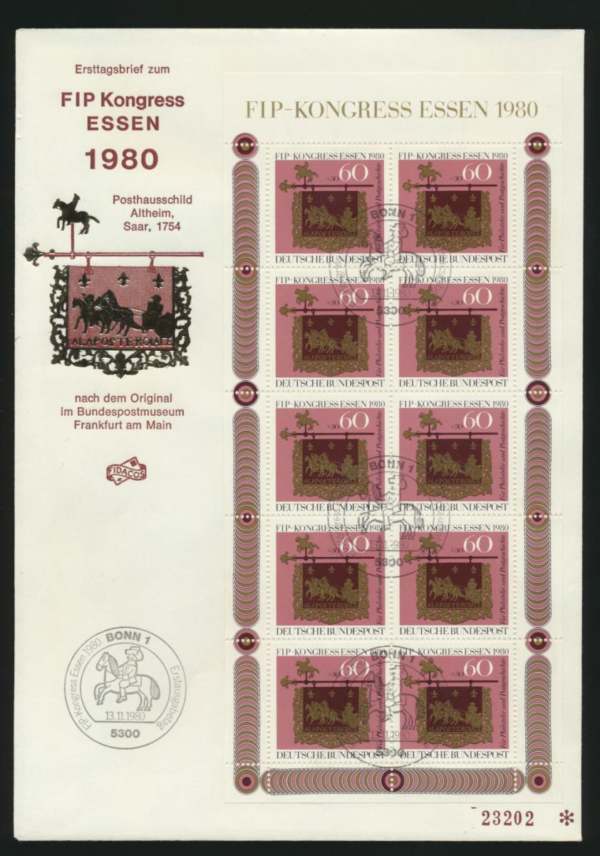 Bund 1065 Kleinbogen FIP Kongreß Philatelistenverb. Essen Posthausschild Altheim 0