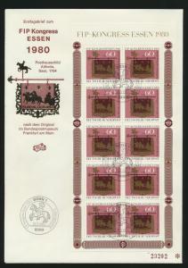 Bund 1065 Kleinbogen FIP Kongreß Philatelistenverb. Essen Posthausschild Altheim