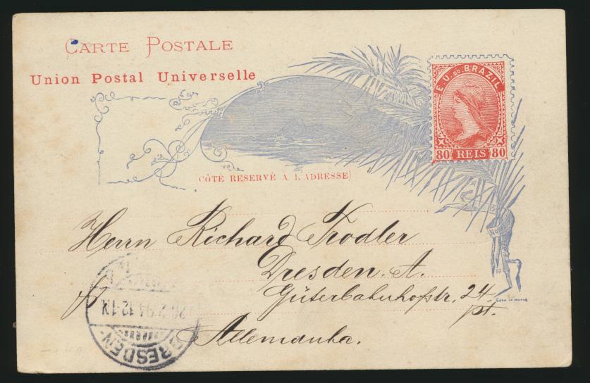 Brasilen Ganzsache P 15c Druckfehler Postal in 2. Zeile Brasilia printing error  0