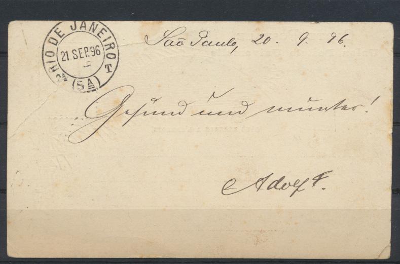 Brasilen Ganzsache P 15 von Rio nach Hannover 21.9.1896 1
