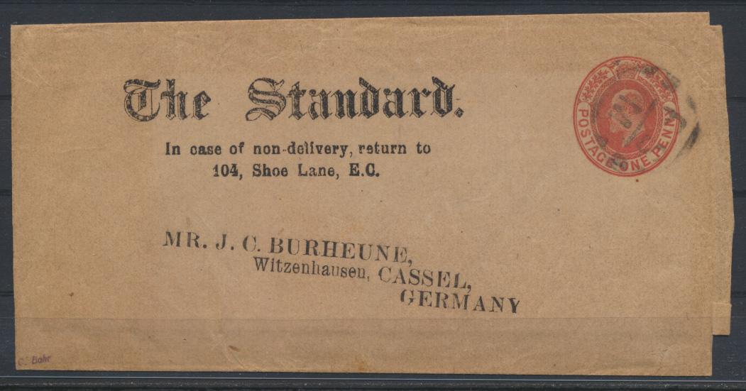Großbritannien Ganzsache Streifband 1porangerot Zeitung The Standard King Eduard 0