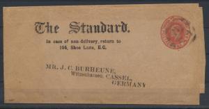 Großbritannien Ganzsache Streifband 1porangerot Zeitung The Standard King Eduard