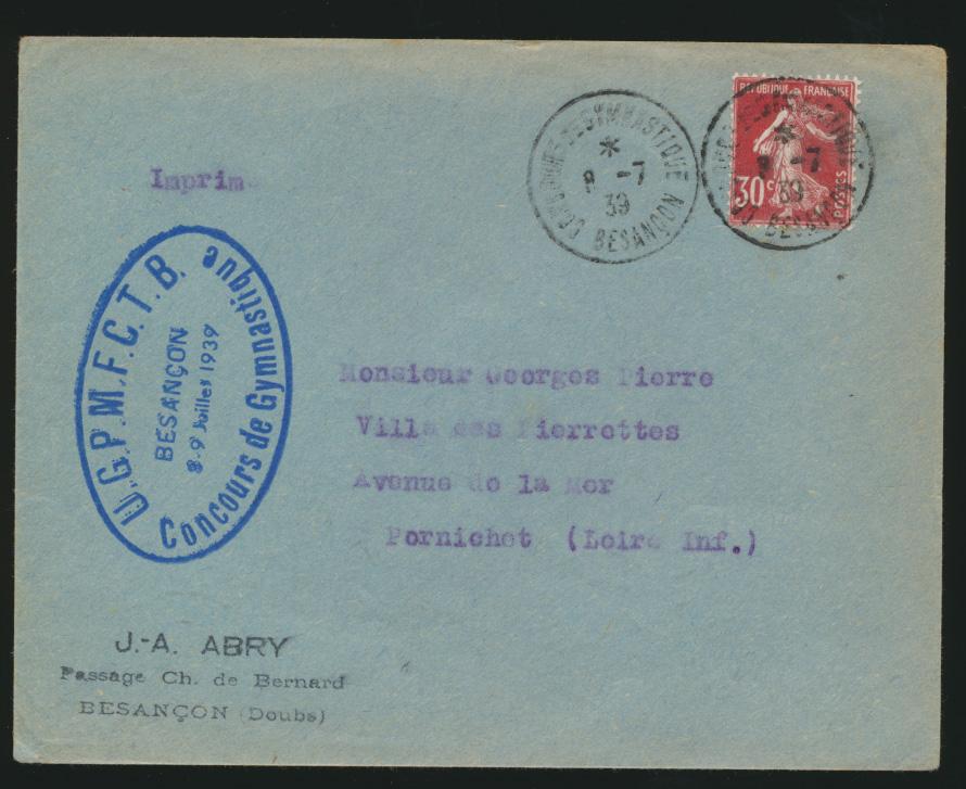 Frankreich Brief Motiv Sport 1939 0