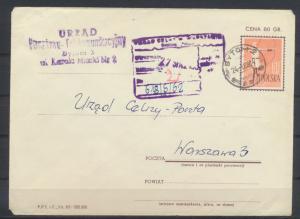Polen Ganzsache Sport Bogenschießen Bytom nach Warschau 1962