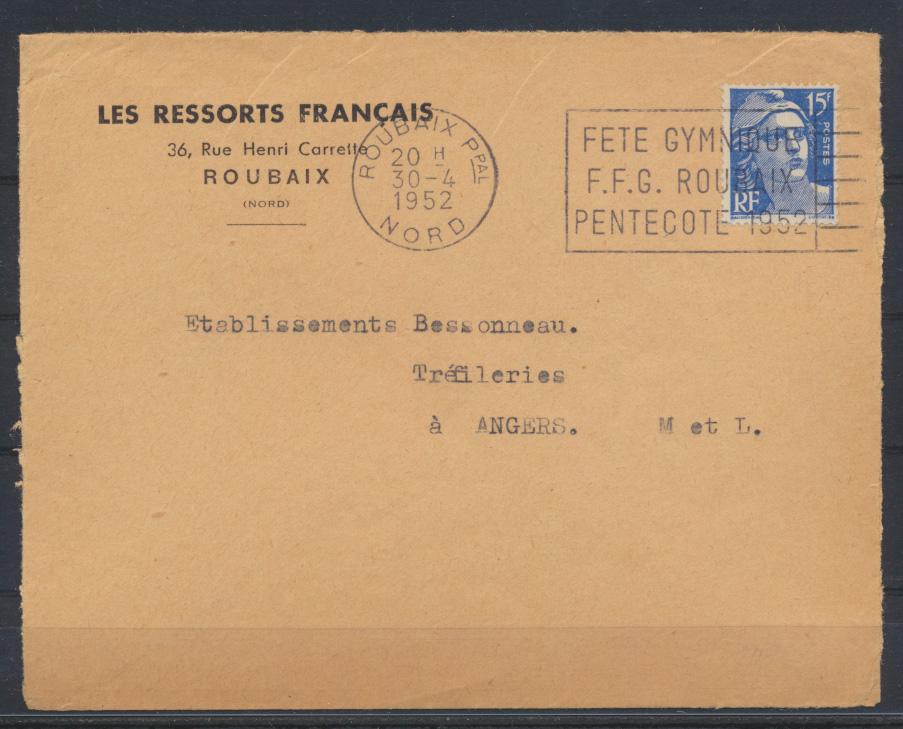 Sport Frankreich Brief SST Gymnastik Roubaix 1952 nach Trefileries  0