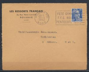 Sport Frankreich Brief SST Gymnastik Roubaix 1952 nach Trefileries