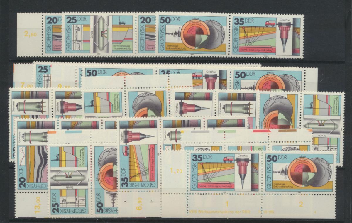 DDR 2557-260 kpl.16 Zusammendrucke Geophysik + Druckerzeichen Kat.-Wert 50,00 0