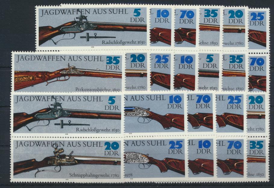 DDR 2376-2381 Jagdwaffen kpl.12 Zusammendrucke Luxus postfrisch Kat.-Wert 32,00 0