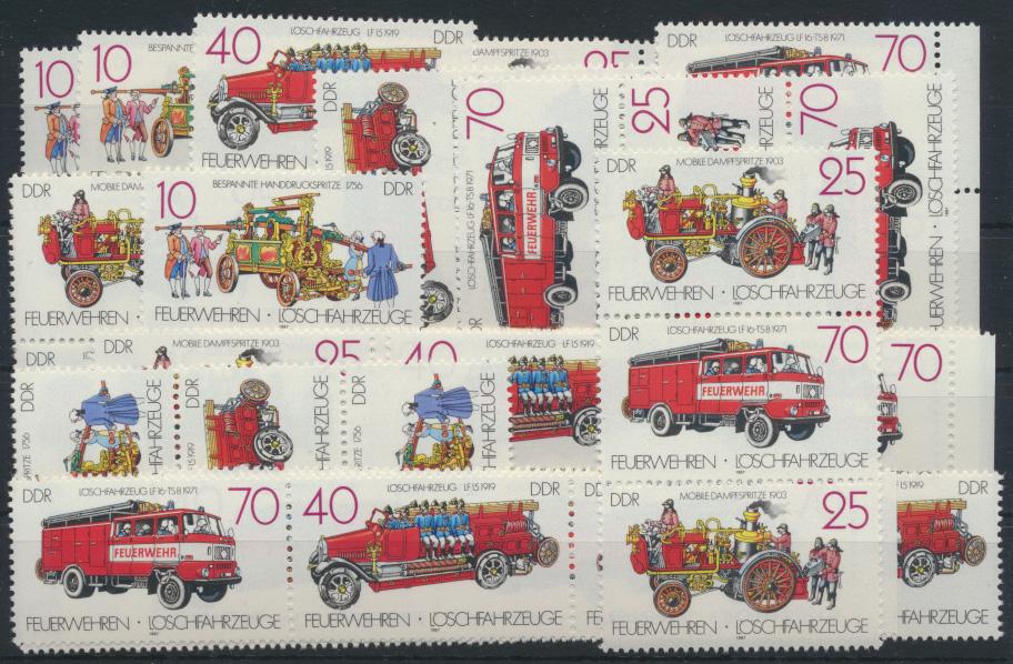 DDR 3101-3104 Feuerwehren kpl.16 Zusammendrucke Luxus postfrisch Kat.-Wert 35,00 0