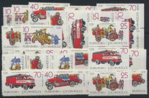 DDR 3101-3104 Feuerwehren kpl.16 Zusammendrucke Luxus postfrisch Kat.-Wert 35,00