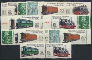 DDR 2792-2795 Eisenbahn kpl.12 Zusammendrucke Luxus postfrisch Kat. 28,00