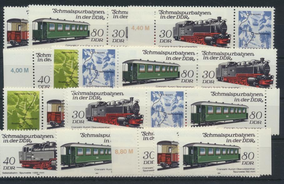 DDR 2864-2867 Eisenbahn kpl.12 Zusammendrucke Luxus postfrisch + Einzel  28,00 0