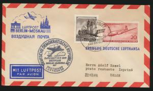 DDR Flugpost Brief Motiv Brandenburger Tor Lufthansa Erstflug Berlin Moskau
