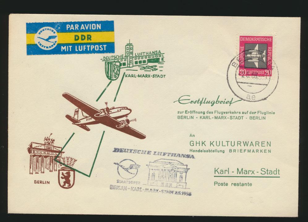 DDR Flugpost Brief Motiv Brandenburger Lufthansa Staatsoper Karl Marx Stadt 0