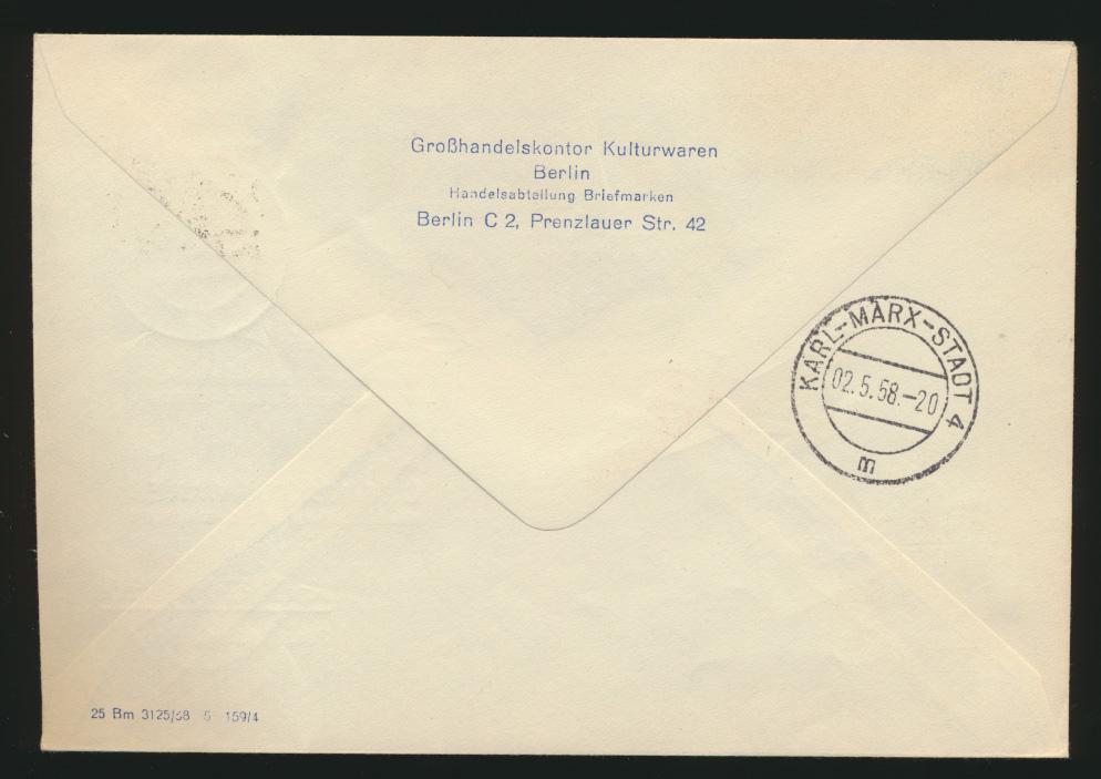 DDR Flugpost Brief Motiv Brandenburger Lufthansa Staatsoper Karl Marx Stadt 1