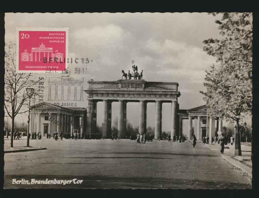 DDR 665 auf Ansichtskarte als Maximumkarte mit SST Berlin Brandenburger Tor 1958 0