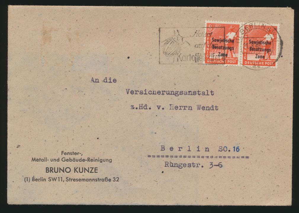 SBZ Brief MEF 184 Vorläufer Berlin vom 21.8.1948 Maschinenstempel Kartoffelkäfer 0