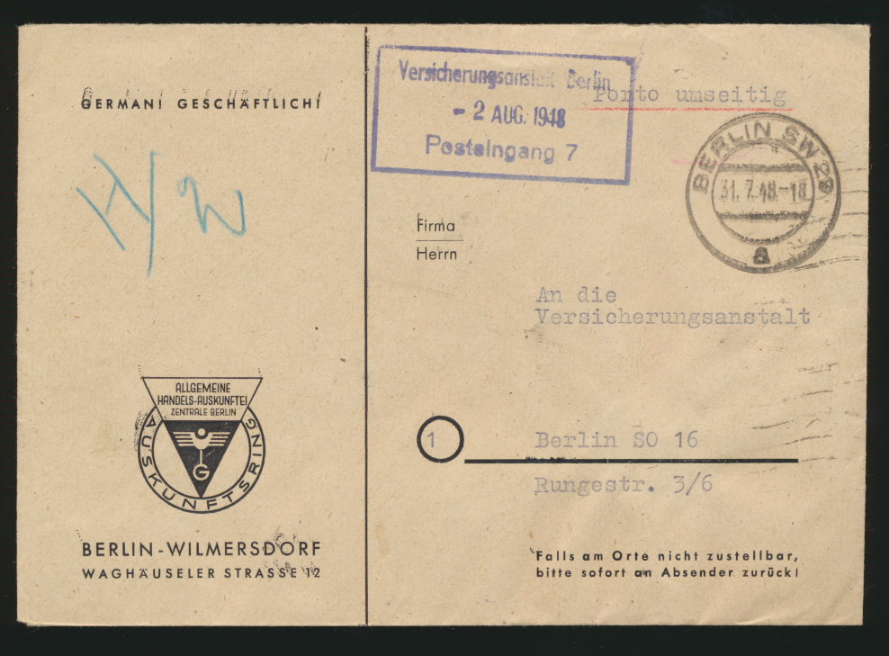 Besetzung Gemeinschaft Brief Letztag Zehnfachfrankatur MEF 916 Berlin Geschäfts- 1