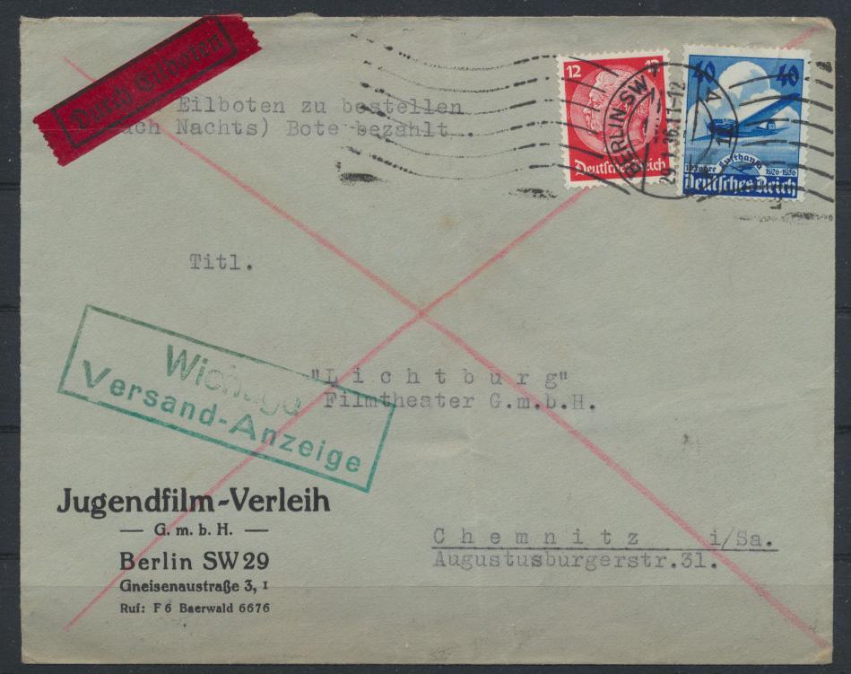 Dt. Reich Eilboten Brief 603 + 12 Pfg. Hindenburg Berlin Chemnitz Telegrafenamt 0
