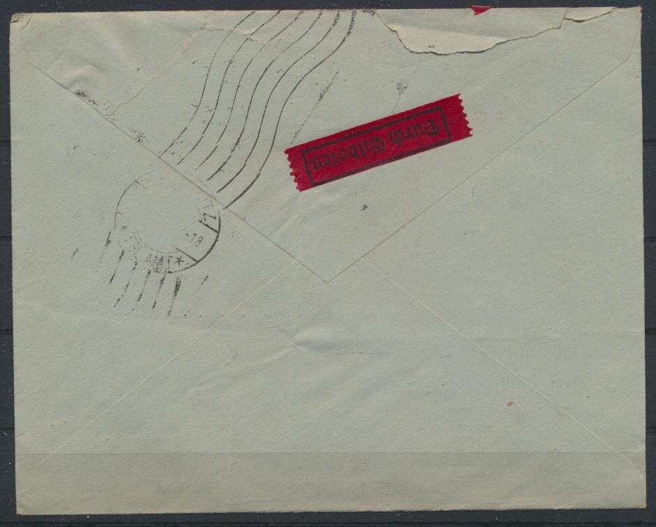 Dt. Reich Eilboten Brief 603 + 12 Pfg. Hindenburg Berlin Chemnitz Telegrafenamt 1