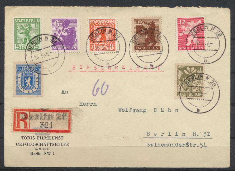 SBZ Berlin 1-8 Absender Tobis Filmkunst 16.5.1946 0