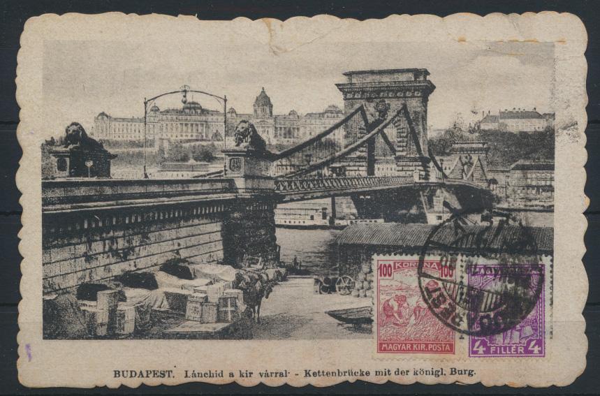 Ansichtskarte Ungarn Budapest Kettenbrücke Burg bildseitig frankiert 0