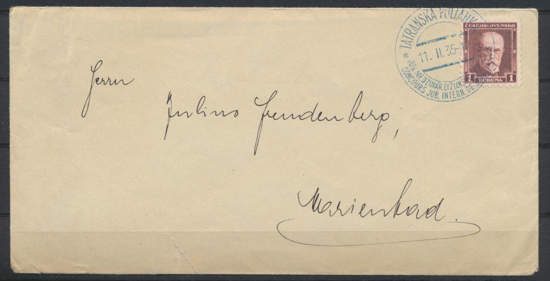 Tschechoslowakei Brief mit SST Motiv Wintersport Ski 1935  0