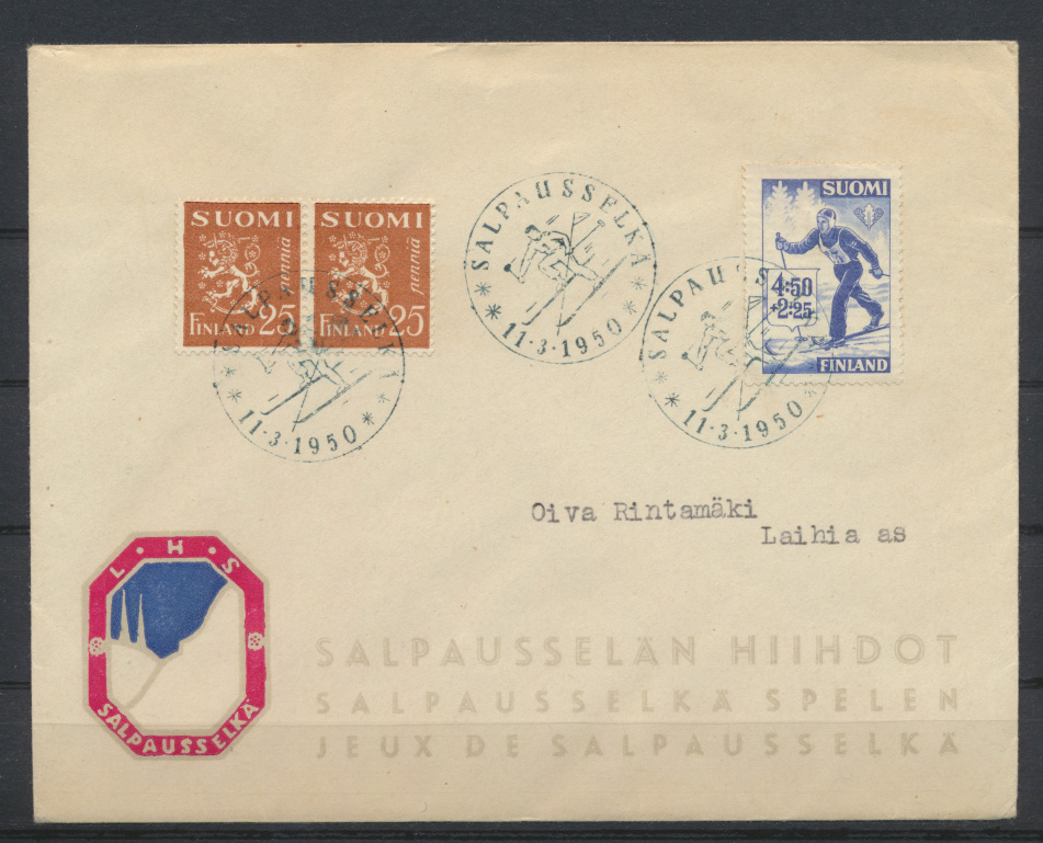 Sport Finnland Brief mit SST Wintersport Skilauf 1950 0