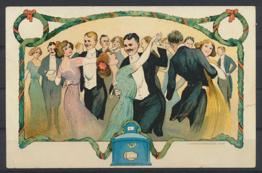 Litho Künstler Ansichtskarte Tanzen  En Bretagne Verlag G. Danner Mühlhausen  0