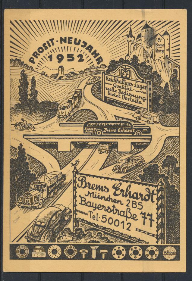 Ansichtskarte Neujahr Reklame Brems Erhardt München Auto 1952 AFS Bundesrepublik 0