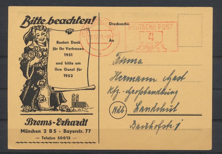 Ansichtskarte Neujahr Reklame Brems Erhardt München Auto 1952 AFS Bundesrepublik 1