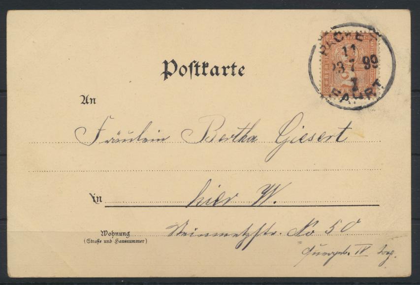 Stadtpost Privatpost Berlin Paketfahrt 66 auf Ansichtskarte Blumen Rosen 1899 0