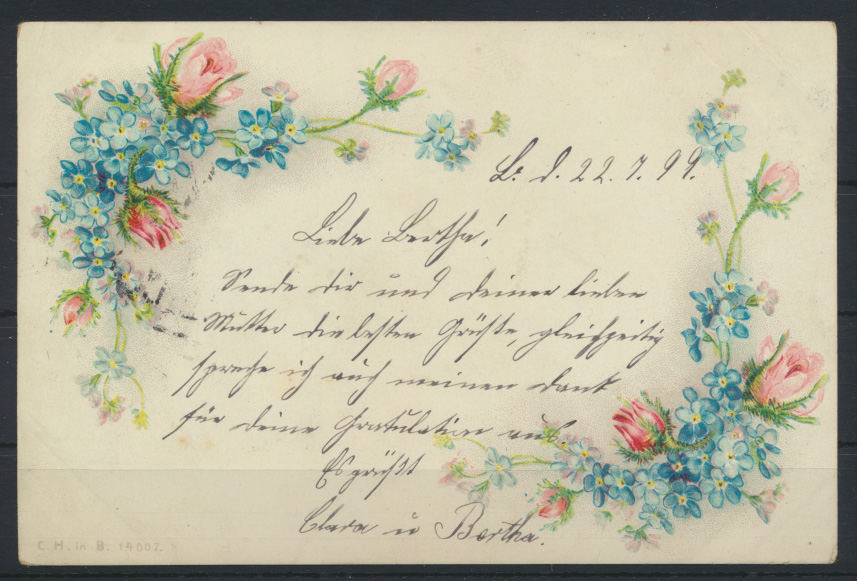 Stadtpost Privatpost Berlin Paketfahrt 66 auf Ansichtskarte Blumen Rosen 1899 1