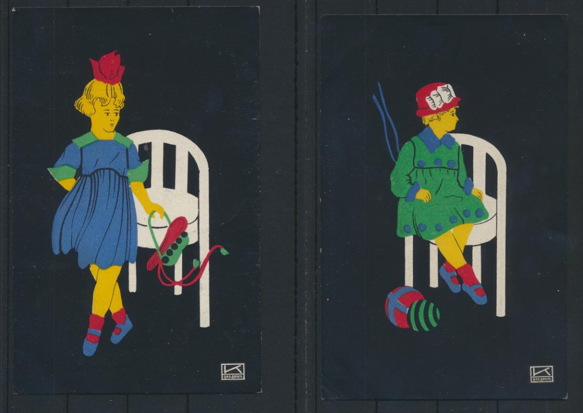 2 Künstler Ansichtskarten Scherenschnitte sign. mit K von Hilde Kallenbach 0